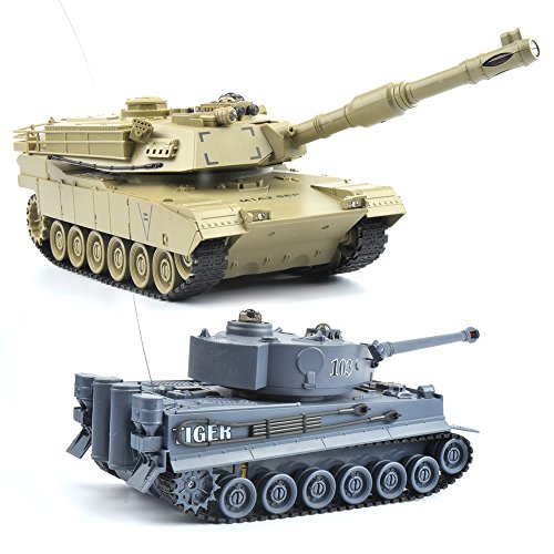 GizmoVine RC Fighting Battle Tank 1:28, Set of 2 Germany Tiger VS USA M1A2, Remote Control Battling Tank Toys for Kids, Boys - Navy blue VS Khaki