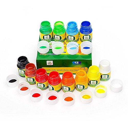 Lightwish Fingerfarben Für Kleinkinder Ungiftig 12 Farben Abwaschbare Fingerfarben Fingerpaint Baby Kinder Set Für Kunst (Kinder Kunst-set Für)