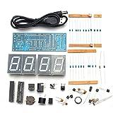 Gaoxing Tech. DIY Elektronische Mikrocontroller Kit LED Digitaluhr Zeit Thermometer 4 Farben Einfache 4-stellige Schwarz Desktop Mini-Uhr