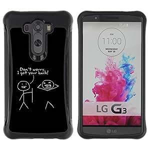 WAWU Hlle Tasche Schutzhlle Case Cover Bumper und Anti-Scratch Rugged Armor Slim -- black quote friends funny stick man minimalist -- LG G3