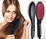Ree V Ceramic Professional Electric Hair Straightener with Temperature Control and Digital Display Brush for Women (Black)
