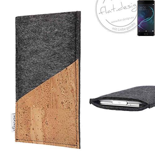 flat.design Handy Hülle Evora für Doogee Shoot 1 handgefertigte Handytasche Kork Filz Tasche Case fair dunkelgrau
