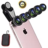 7 In 1 Cell Phone Lens Kit With Case, Super Fisheye Lens + 0.63x Wide Angle Lens + 0.36x Super Wide Angle Lens + 15x Macro Lens + 2X Telephoto Lens+ Kaleidoscope + CPL Lens