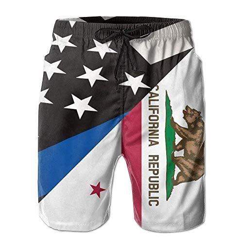 Nicegift Men Summer Thin Blue Line Flag California State Flag Quick Dry Beach Shorts Board Shorts Swim Trunks Cargo Shorts Medium Chaps-mens Tie