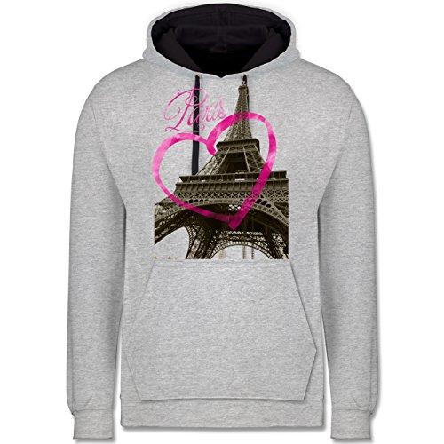 Städte - I love Paris - Kontrast Hoodie Grau meliert/Dunkelblau