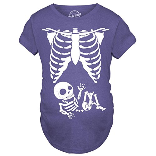 Crazy Dog Tshirts - Maternity Skeleton Baby T Shirt Funny Cute Pregnancy Tee for Mothers (Heather Purple) - 3XL - Damen - 3XL