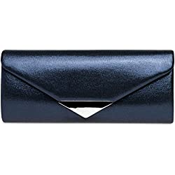 CASPAR TA417 Bolso de Mano de Satén para Mujer/Clutch Brillante de Estilo Largo con Decoración Metálica, Color:azul oscuro;Tamaño:Talla Única
