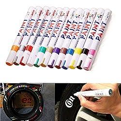 Produit: stylo de peinture pour pneu de voiture  Emballage inclus: 1 ensemble / 12 pièces   Écriture lisse, forte couverture, couleurs riches.  Matériaux de haute qualité, encre de type valve et système d'encre, disponibles après avoir appuyé sur l'e...
