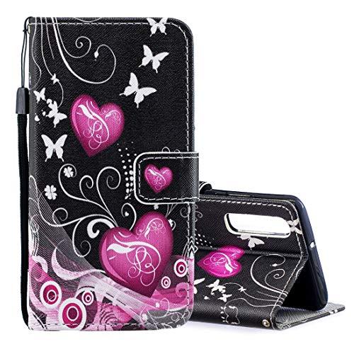 PAN-DE Cases Peach Heart Pattern Horizontal Flip Leder Tasche für Huawei P30, mit Halter & Kartensteckplätze & Geldbörse