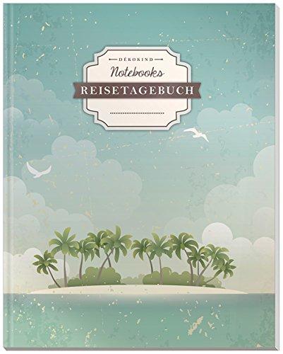 DÉKOKIND Reisetagebuch zum Selberschreiben   DIN A4, 100+ Seiten, Register, Vintage Softcover   Auch als Abschiedsgeschenk   Motiv: Einsame Insel