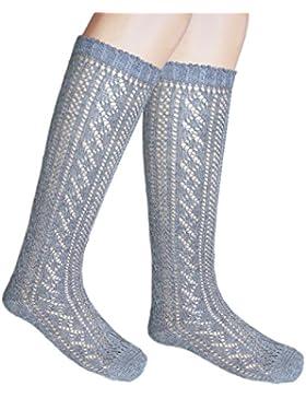 Las niñas de la escuela de la rodilla calcetines altos longitud completa Pointelle algodón rica