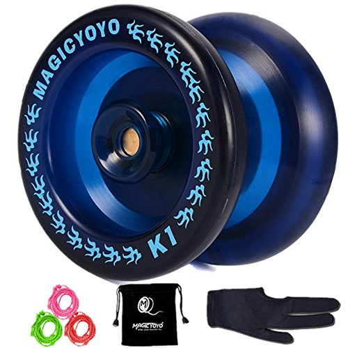 Responsive YoYo MAGIC YOYO K1-Plus with Yoyo Bag/Sack + 3 Strings and Yo-Yo Glove Gift (dark blue)