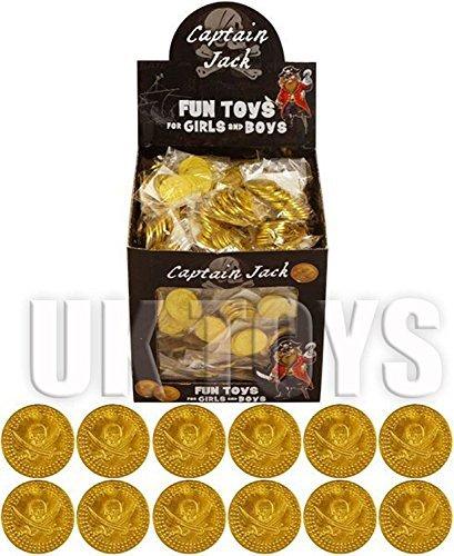 Supercool 144 packung mit Gold Kunststoff Piraten-münzen Dublonen So tun Money Knochen von Schädel und Kreuz Schwerter Kinder Partei Parteien Piraten-themen Event von Curtzy TM