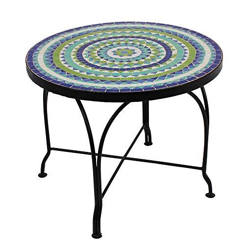 albena Marokko Galerie Marokkanischer Mosaiktisch 60cm COUCHTISCH L Gartentisch Beistelltisch Terrassentisch Fliesentisch Mediterraner Tisch (Hiawa blau/türkis/weiss/grün)