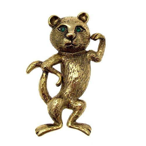 Acosta Jewellery–Vintage Design–Fun Muskeln Katze Animal Brosche (Antik Gold)
