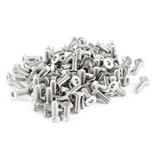 sourcingmap-100-piezas-304hc-acero-inoxidable-hex-avellanado-plano-pernos-tornillos-m2-x-6