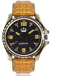 LimeStone Tan Master Round Casual Analog Tan Leather Strap & Black Dial Men's / Boy's Wrist Watch with Aviator Sunglass - LS2602+021