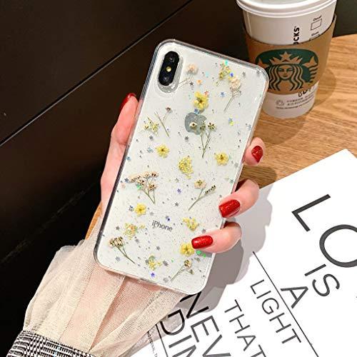Bakicey iPhone Xs Hülle, iPhone X Handyhülle Getrocknete blumen Kristall Gel Schutzhülle Ultradünn Handgefertigt Immerwährende Blume Bumper Case Cover Schale Schutz hülle für iPhone Xs/iPhone X(F)