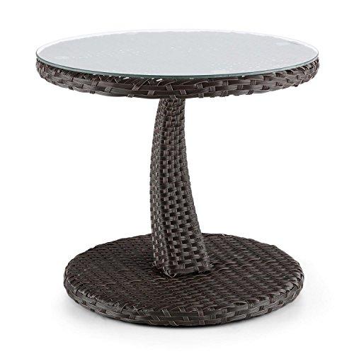 Blumfeldt Tabula - Table d'appoint en rotin synthétique de 43cm de Haut avec Plateau en Verre de 50cm de diamètre - Marron