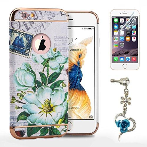 Sunroyal® Cover iPhone 6, iPhone 6S Custodia [Shock-Absorption] 3 in 1 Armatura telaio in metallo Dura PC Fiori Texture in Rilievo Protettiva Custodia Case per Apple iPhone 6 6S 4.7 Bumper Back custo Modello 02