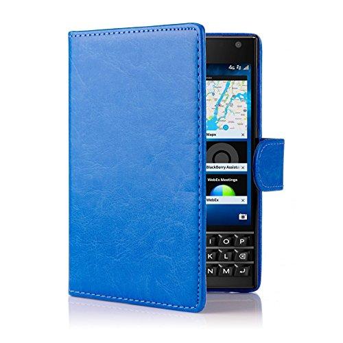 32nd PU Leder Mappen Hülle Flip Case Cover für BlackBerry Passport, Ledertasche hüllen mit Magnetverschluss & Kartensteckplatz - Blau