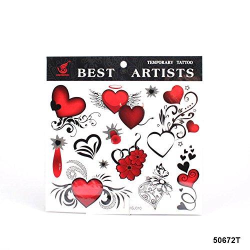 **Große Tattoos Herzen mit unterschiedlichen Verzierrungen (Tattoo-schädel Flügel)