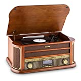 auna • Belle Epoque 1908 • Retroanlage • Plattenspieler • Stereoanlage • Digitalradio • DAB+ • Plattenspieler • Radio-Tuner • Bluetooth • CD-Player • MP3-fähig • RDS-Funktion • Kassettendeck • USB-Port • Digitalisierungsfunktion • Fernbedienung • braun