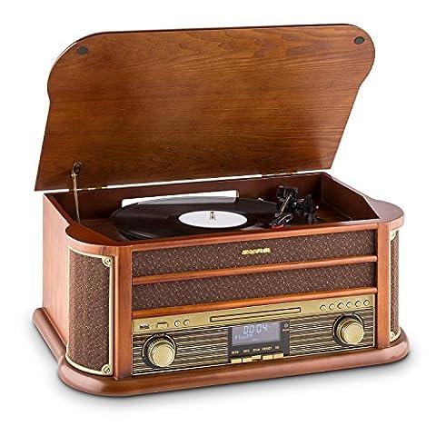 auna • Belle Epoque 1908 • Retroanlage • Plattenspieler • Stereoanlage • Digitalradio • DAB+ • Plattenspieler • Radio-Tuner • Bluetooth • CD-Player • MP3-fähig • RDS-Funktion • Kassettendeck • USB-Port • Digitalisierungsfunktion • Fernbedienung •