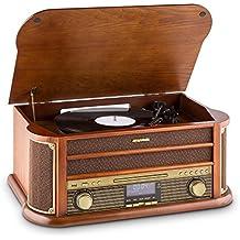 auna Belle Epoque 1908 • Retroanlage • Plattenspieler • Stereoanlage • Digitalradio • DAB+ • Plattenspieler • Radio-Tuner • Bluetooth • CD-Player • MP3-fähig • RDS-Funktion • Kassettendeck • USB-Port • Digitalisierungsfunktion • Fernbedienung • braun