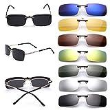 Gafas de sol polarizadas de clip, UV400,para conducción, aire libre, antirreflejos, para hombre y mujer, de Cosprof, negro, Small