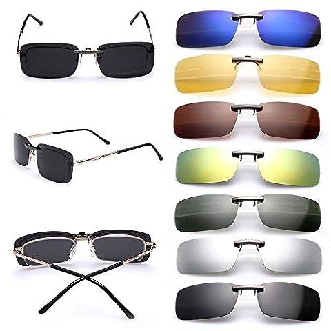Cosprof Lentilles polarisées Clip sur lunettes de soleil UV400Lunettes de conduite extérieure [Mat] Conduite/pêche Lunettes de vision nocturne de jour, homme et femme,