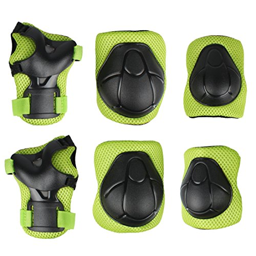 Andux Zone 6pcs Kids Children Youth Protective Gear Set Knee Elbow Wrist Support Pads for Roller Skating BMX Bike Cycling Skateboard Scooter ETHJTZ-01 (Green)
