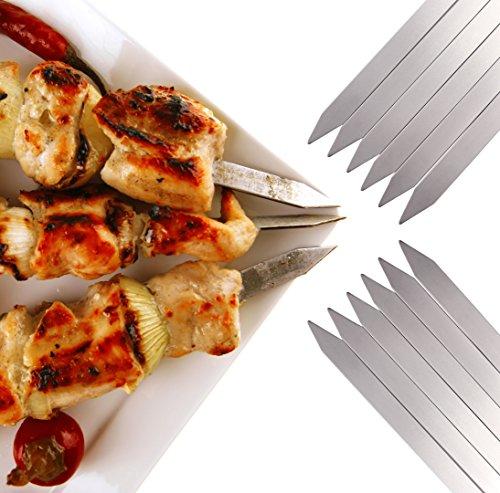 51wZovjVpML - Romanticist Flache Metall Grill Spieße - 42 cm Edelstahl Grillen BBQ Stick Spieße mit Basting Pastry Pinsel - 15Pcs BBQ Grill Werkzeuge Zubehör Set in Handliche Aufbewahrungstasche