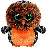 Carletto Ty 41126 - Midnight - Eule, 15 cm, mit Glitzeraugen, Glubschi's, Beanie Boo's, Halloween limitiert, orange/braun