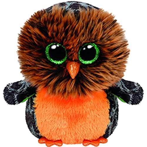 peluches TY - Midnight, búho de peluche, 15 cm, color naranja (41126TY)