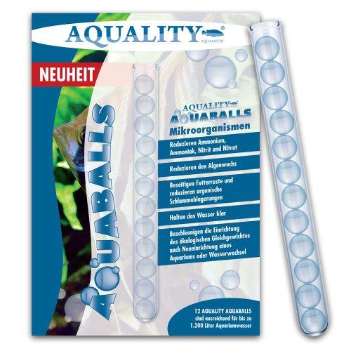 AQUALITY Aquarium AQUABALLS - 12 Balls (GRATIS Lieferung in DE - Reduziert Ammonium, Ammoniak, Nitrit, Nitrat, Schlamm, Mulm - Beschleunigen die Einrichtung - Mikroorganismen) -