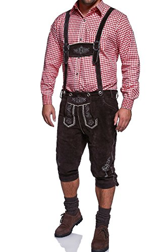 MT Styles Trachten Leder Kniebundhose abnehmbaren Hosenträger 46-48-50-52-54-56-58-60-62-64 [Braun, 60]
