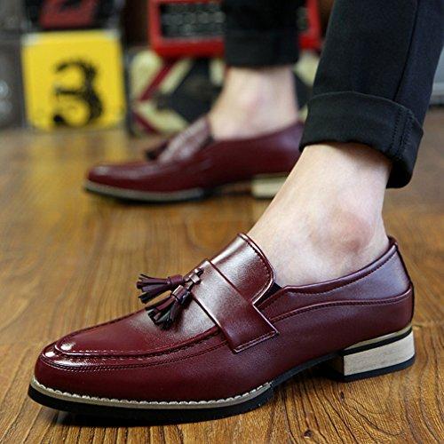 Xianshu Hommes Tassel Flâneurs Pointe Toe Chaussures Rouge