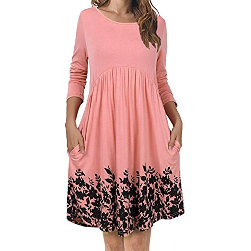Ba Zha Hei Frauen T-Shirt Kleid mit Taschen Langarm Floral Plissee Swing Dress Casual Langes Shirt Lose Tunika Kurzarm Abend Party Club Oberteil Cocktailkleid Festlich Mini Kleider (S, Rosa) (Plissee-tunika-shirt)
