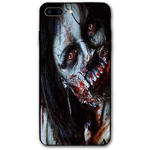 ZZHOO Compatible with iPhone 7/8 Plus Case, Scary Dead Woman with A Bloody Axe Evil Fantasy Gothic Mystery Halloween Picture,Rubber Anti-Scratch Shock Absorption Protective Phone Cover (Girl Scary Dead Evil)