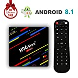 [2018 Versione] H96 Max+ Android 8.1 TV Box 4GB+32GB 4K Ultra HD Smart TV Box RK3328 Quad-Core 64bit CPU Set Top Box Supporto 2.4G WiFi 100M LAN Ethernet 3D H.265 HDR con Telecomando