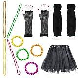 Beelittle Frauen 80er Jahre Outfit Outfit Kostüm Zubehör Set (13-Black)