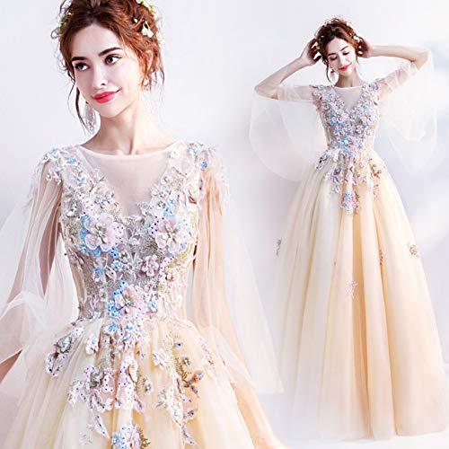QAQBDBCKL Hellgelbe Belle Cosplay Schmetterlingshülse Karneval Kleid Frauen Mittelalterliche Renaissance-Kleid-Kleid Königin Cosplay Kostüm (Belle-kleid Frauen Für)
