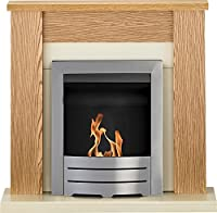 Adam Solus Fireplace Suite in Oak with Colorado Bio Ethanol Fire in Brushed Steel, 39 Inch