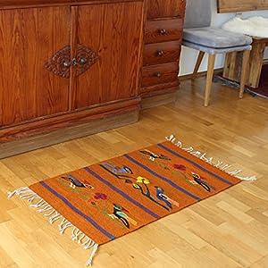 Teppich Vintage 100x60 cm mit Vögeln - Naturfarben | Handarbeit | Teppich aus Wolle handmade