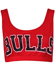 """Purple Hanger - Brassière Femme Haut Court Débardeur Sans Manche Extensible Encolure Arrondie Chicago Basketball Université Américaine Imprimé """"Bulls"""""""