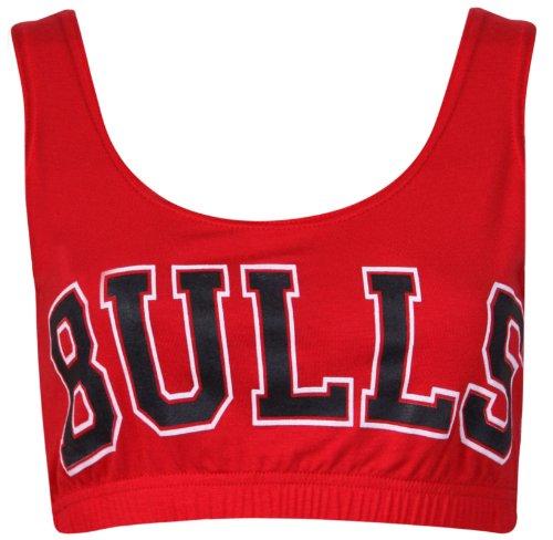 """Top da donna con scritta """"Bulls"""", da basket, scollatura rotonda, senza maniche, in tessuto elasticizzato Rosso"""