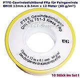 PTFE-Gewindedichtband Rolle (Teflonband) FRp für Feingewinde DN10 nach DIN EN 751-3, 12mm x 0.1mm x 12m (60 g/m²) (10 Stück)