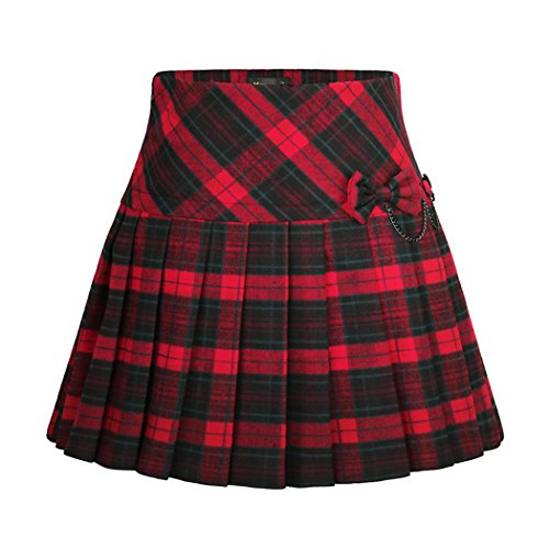 Wincolor Damen A-linie Plaid Woolen Plissee Mini Tartan Skater Rock mit Bowknot (Knee-length Flare Skirt)