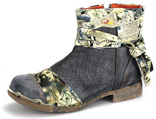 TMA Damenschuhe Stiefeletten Boots Damen Schuhe Stiefel 5001 Schwarz/Grau KIHJJOL8L